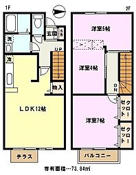 埼玉県川口市峯の賃貸アパートの間取り