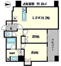 堂島ザレジデンスマークタワー 16階2LDKの間取り