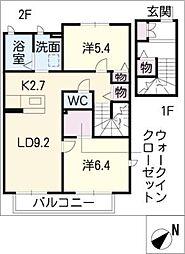 メイプル松ノ木[2階]の間取り