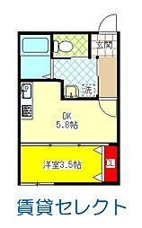 JR常磐線 松戸駅 徒歩23分の賃貸アパート 2階1DKの間取り