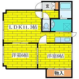 北海道札幌市清田区北野五条4の賃貸アパートの間取り