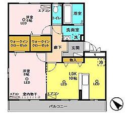 リビングタウン鍵山B棟[3階]の間取り