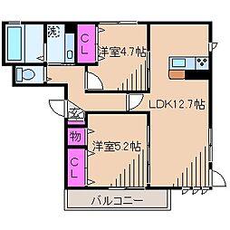 神奈川県川崎市中原区下小田中5丁目の賃貸アパートの間取り