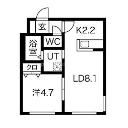 札幌市営南北線 麻生駅 徒歩5分の賃貸マンション 3階1LDKの間取り