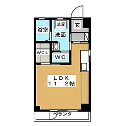 第2小林ビル 6階ワンルームの間取り