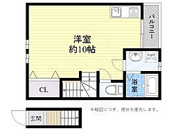 JR東海道・山陽本線 高槻駅 徒歩5分の賃貸アパート 2階ワンルームの間取り