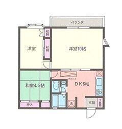 神奈川県相模原市緑区東橋本1丁目の賃貸アパートの間取り