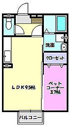茨城県つくばみらい市陽光台4丁目の賃貸アパートの間取り
