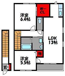 福岡県福岡市東区青葉4丁目の賃貸アパートの間取り