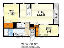 シャーメゾンワールドヒル 3階2LDKの間取り