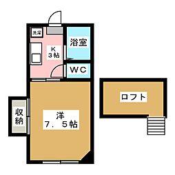 宮城県仙台市若林区古城3丁目の賃貸アパートの間取り