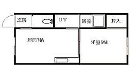 北海道札幌市南区川沿五条2丁目の賃貸アパートの間取り
