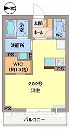 JR津山線 法界院駅 徒歩20分の賃貸マンション 1階ワンルームの間取り