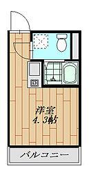 フォレストコート鷲宮 206号室 2階ワンルームの間取り