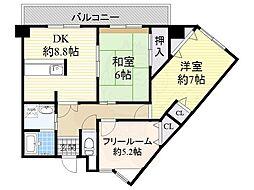 南海高野線 北野田駅 徒歩5分の賃貸マンション 2階2SDKの間取り