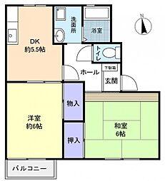 リバーパークハイツII[1階]の間取り