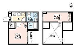 名古屋市営名城線 東別院駅 徒歩11分の賃貸アパート 1階1Kの間取り