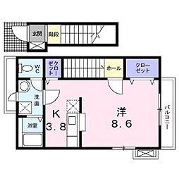 JR信越本線 長野駅 5.2kmの賃貸アパート 2階1Kの間取り