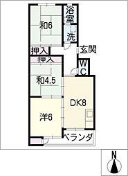 ハイツ小正B[3階]の間取り