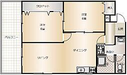 大阪府吹田市山田市場の賃貸マンションの間取り