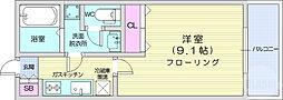 リビングステージ広瀬川 6階1Kの間取り