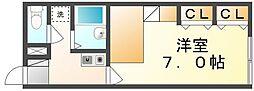 高松琴平電気鉄道志度線 潟元駅 徒歩7分の賃貸アパート 1階1Kの間取り