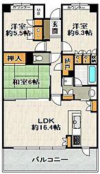 兵庫県宝塚市中筋5丁目の賃貸マンションの間取り