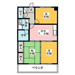 シャトーマキ[2階]の間取り