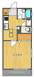 大阪府吹田市千里山西5丁目の賃貸マンションの間取り