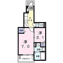 枝吉2丁目アパートI 1階1Kの間取り