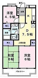 埼玉県ふじみ野市大井中央の賃貸マンションの間取り