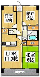 グラディート久米川[4階]の間取り
