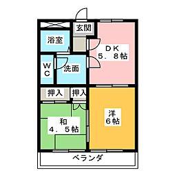 愛知県小牧市大字林の賃貸マンションの間取り