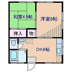 神奈川県横浜市神奈川区松見町2の賃貸アパートの間取り