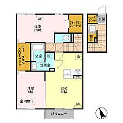 (仮)D−room富士見町 B棟[205号室]の間取り