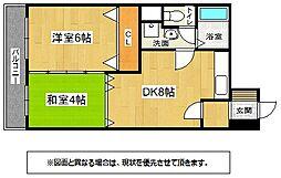 福岡県北九州市小倉北区馬借3の賃貸マンションの間取り