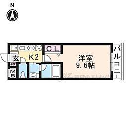 ARTISTA円町ドゥーエ 1階1Kの間取り