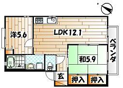 サイドパーク本城II A棟[1階]の間取り