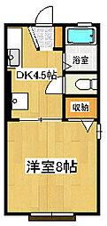 静岡県三島市柳郷地の賃貸アパートの間取り