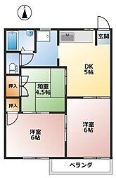ファミール木戸[2階]の間取り