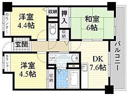 Osaka Metro長堀鶴見緑地線 蒲生四丁目駅 徒歩3分の賃貸マンション 6階3DKの間取り