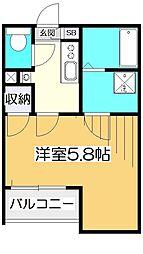 グランクオール東小金井 2階1Kの間取り