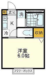 West House 2階1Kの間取り