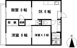 神奈川県茅ヶ崎市矢畑の賃貸アパートの間取り