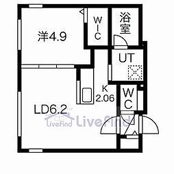 札幌市営東豊線 月寒中央駅 徒歩4分の賃貸マンション 5階1LDKの間取り