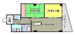上杉第7ビル西古松[6階]の間取り