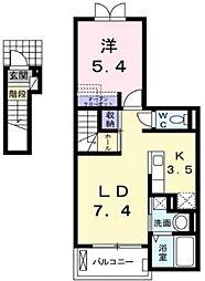 広島県福山市山手町2の賃貸アパートの間取り
