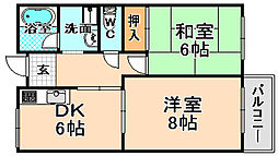兵庫県伊丹市緑ケ丘5丁目の賃貸マンションの間取り