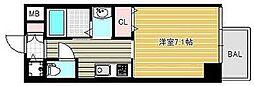 アール大阪グランデ 5階1Kの間取り