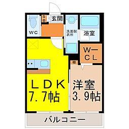 (仮称)幸心2丁目新築アパート A棟[2階]の間取り